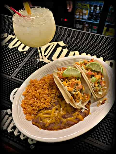 Wahoo Fish Tacos and house margarita