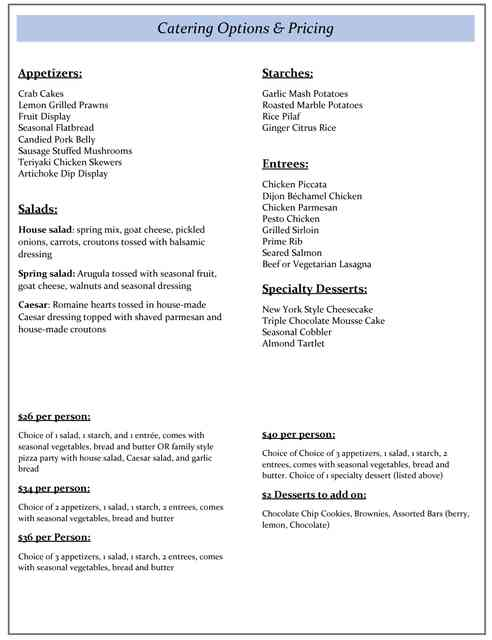 catering pricing