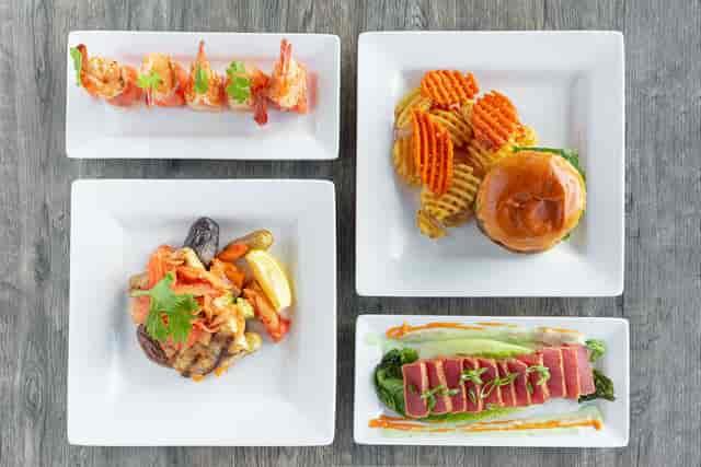 shrimp bites, burger, jiro