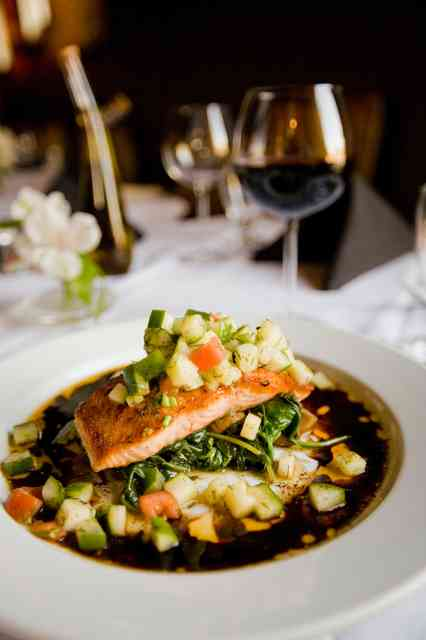 salmon and wine
