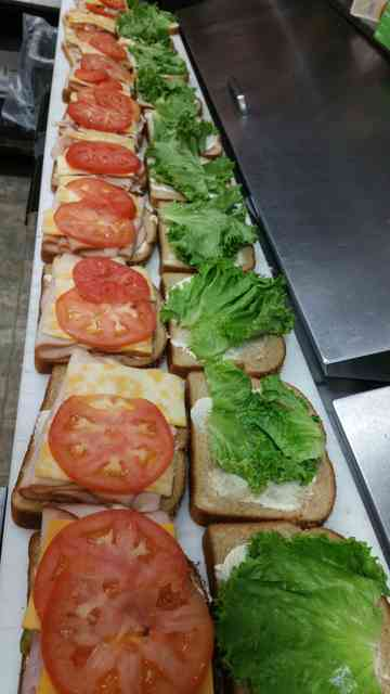 sandwiches being made