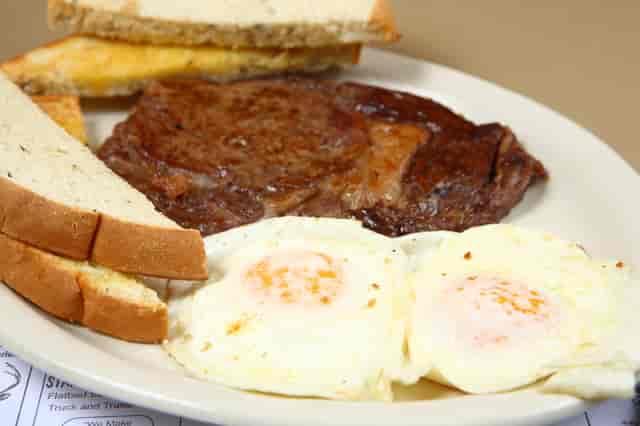 rib steak breakfast