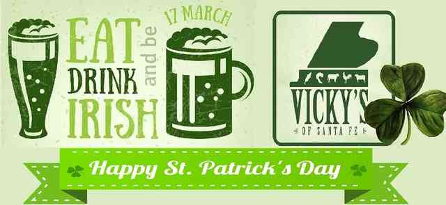 Happy St Patricks logo of beer mug shamrock and Vicky's logo