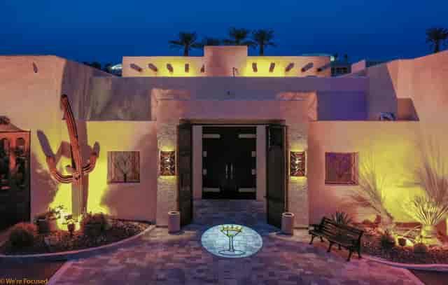 Vicky's of Santa Fe front entrance building nighttime
