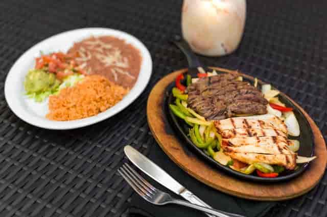 chicken and steak fajitas