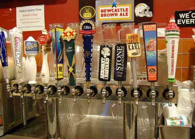 tap handles on the wall
