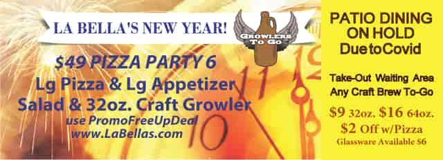 NEW YEAR Patio Take-out $2OFF Growler with Pizza Purchase Now through January