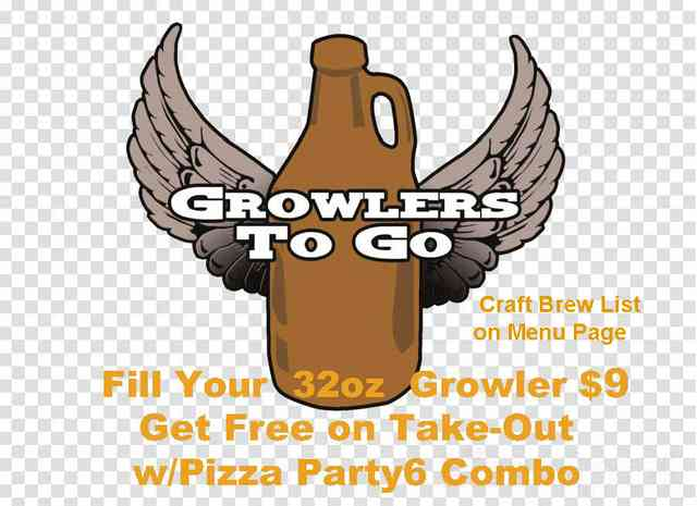Growlers to Go $9 Included Pizza Party to Go