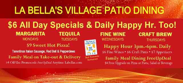 National Margherita Day Starts Day by Day Specials New 3-6pm Daily Happy Hr.