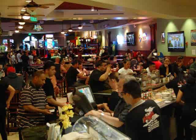 restaurant full of people eating