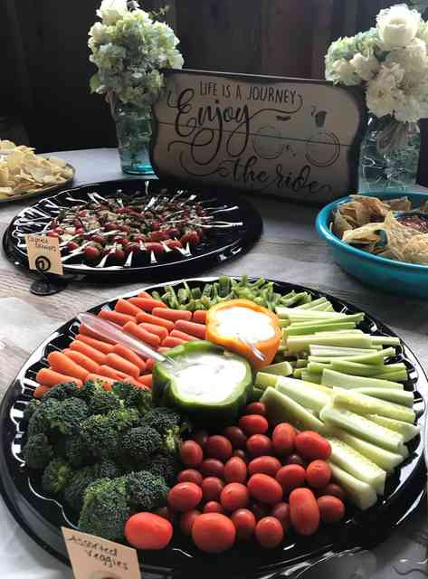 catering layout with assorted veggies