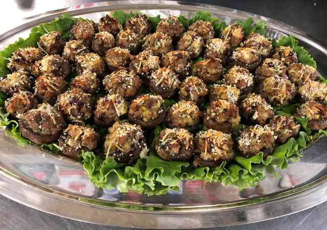 Sausage , cranberry stuffed mushrooms