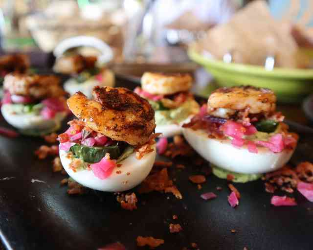 Deviled eggs with shrimp