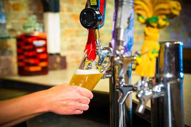 Person pouring beer from tap