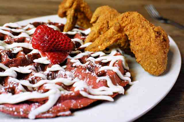 red velvet waffle and chicken