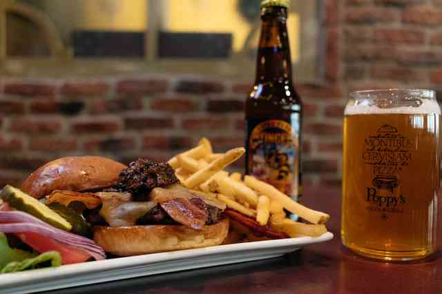 burger and fries and beer