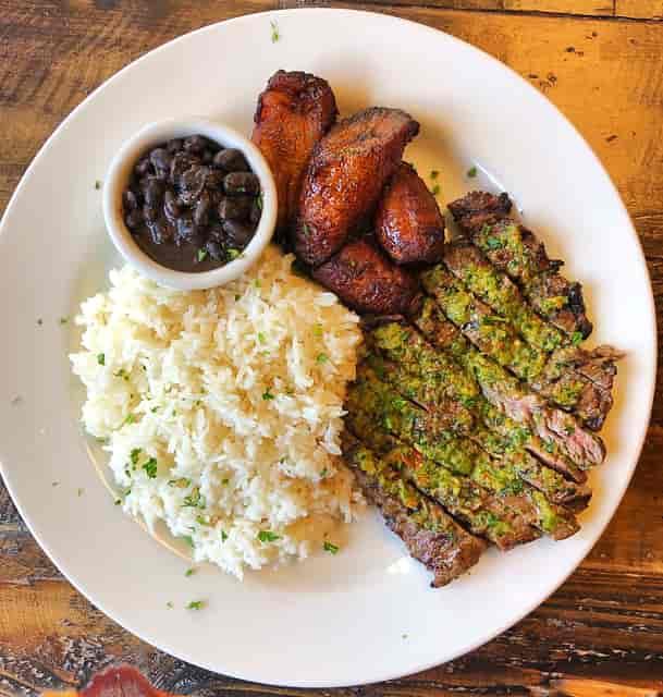 Churrasco, Black Beans & Rice, Sweet Plantains