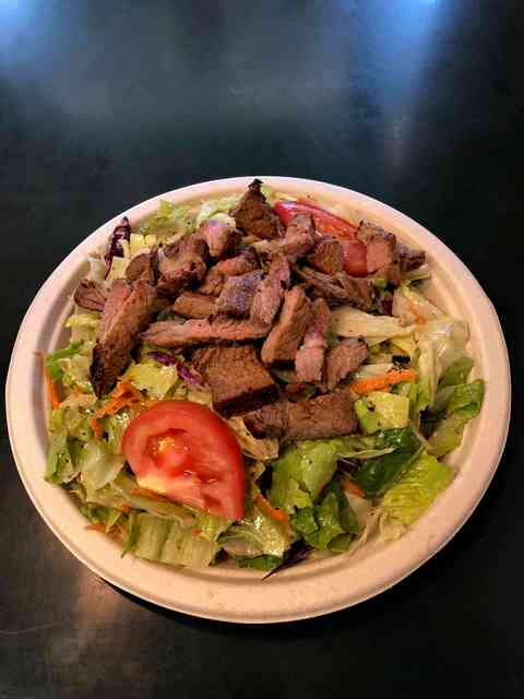 salad with steak
