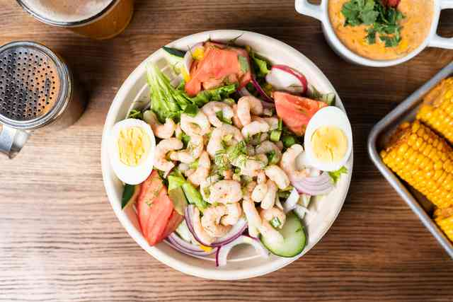 Salad with marinated bay shrimp