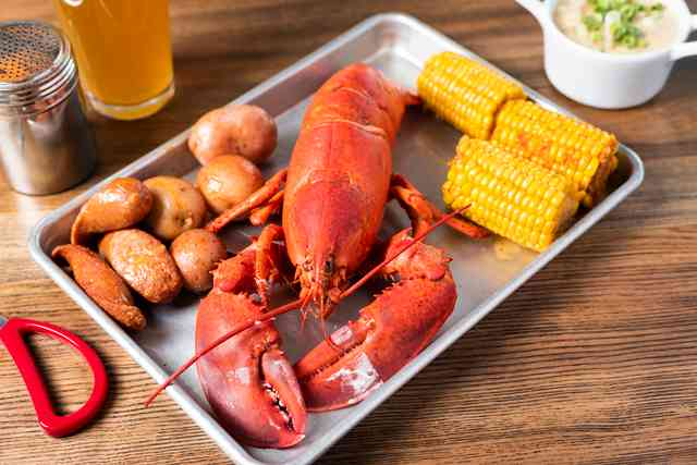 Live Maine Lobster with potatoes and corn on the cob