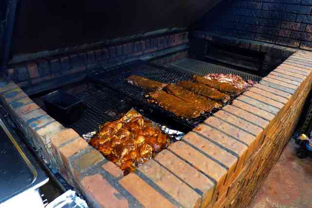 grilling on the pit