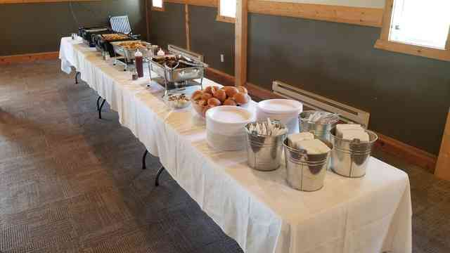 Table with catered spread