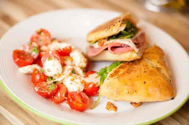 caprese salad and italian sandwich