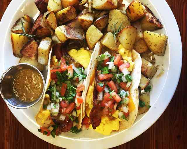 tacos with potatoes and perks gourmet sauce