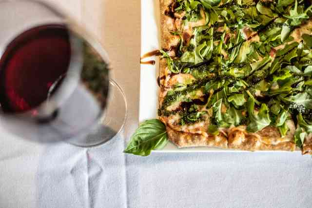 Margarita Pizza with wine