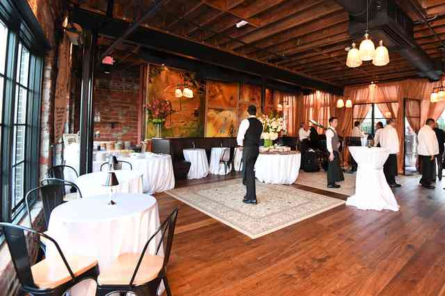 upstairs dining room set up for private event