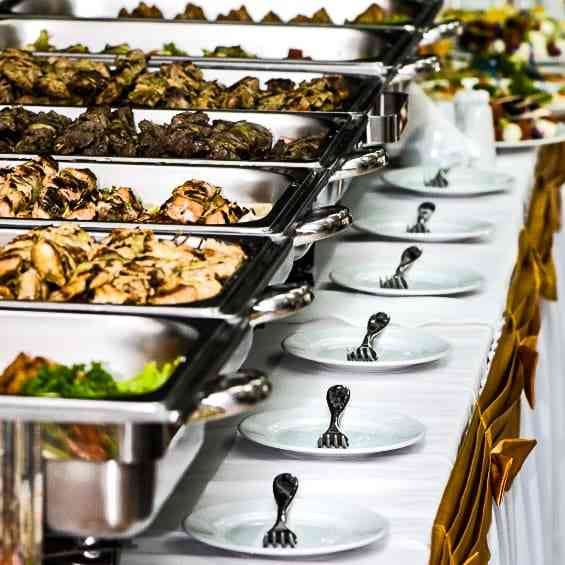 buffet set up with serving tools