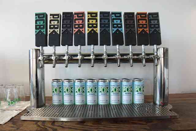 tap handles and beer cans