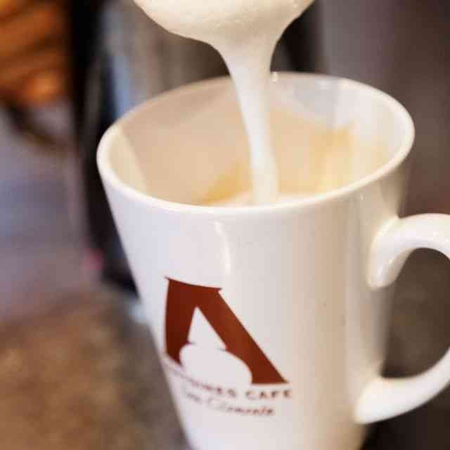 milk pouring into a latte