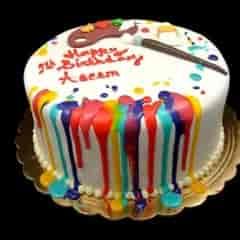 birthday cake with paint