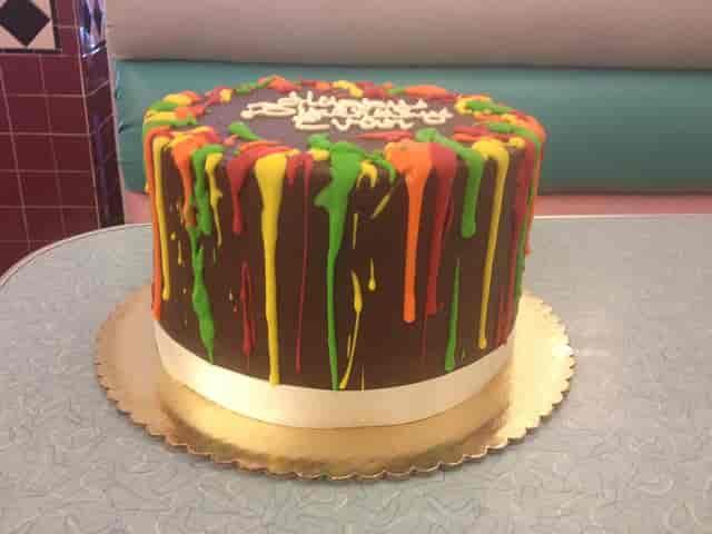 chocolate cake with icing drip