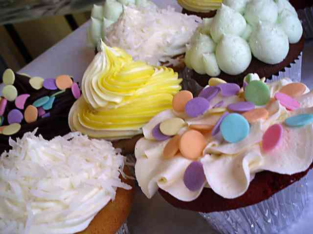 cupcakes with colorful decorations