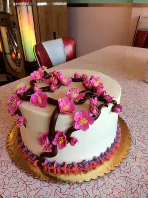 cake with cherry blossom