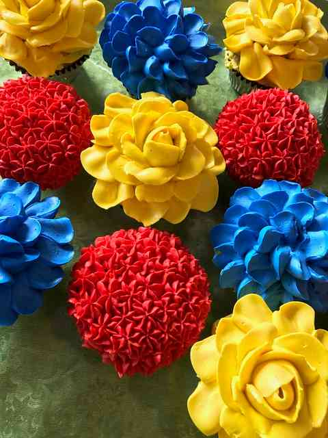 colorful flower cakes