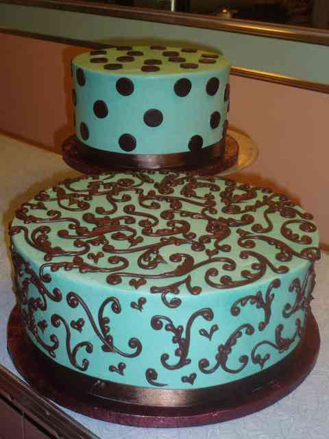 mint cake with brown icing
