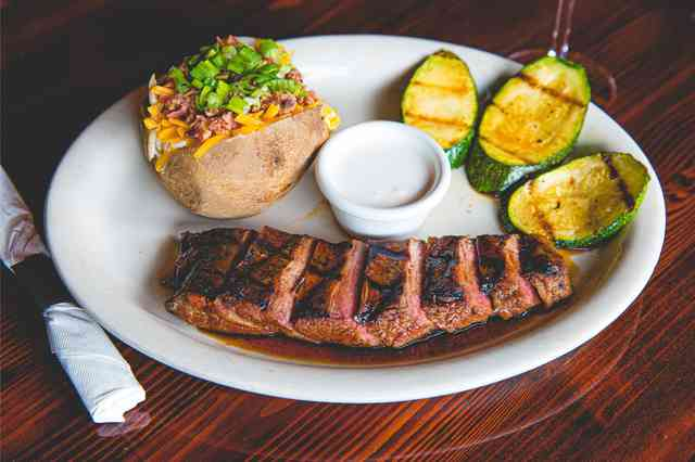 flank steak with baked potato