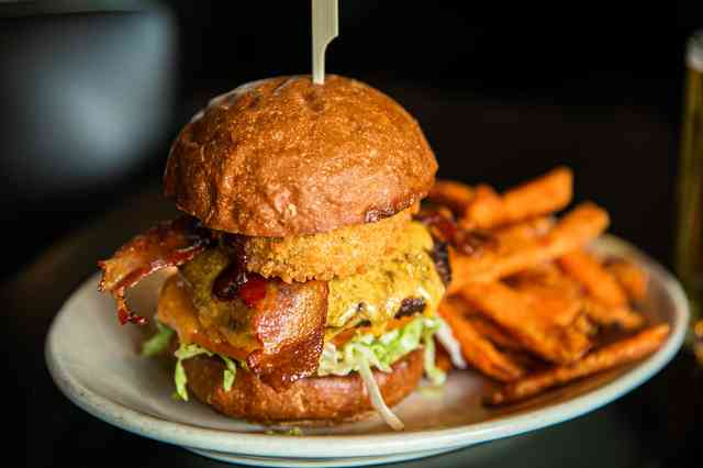 bbq bacon burger and fries