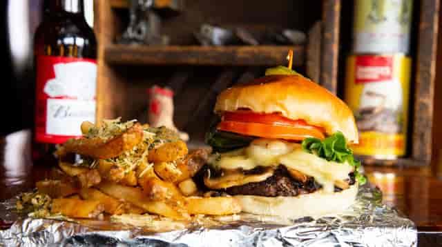 truffle mushroom and swiss burger