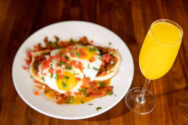mimosa and eggs