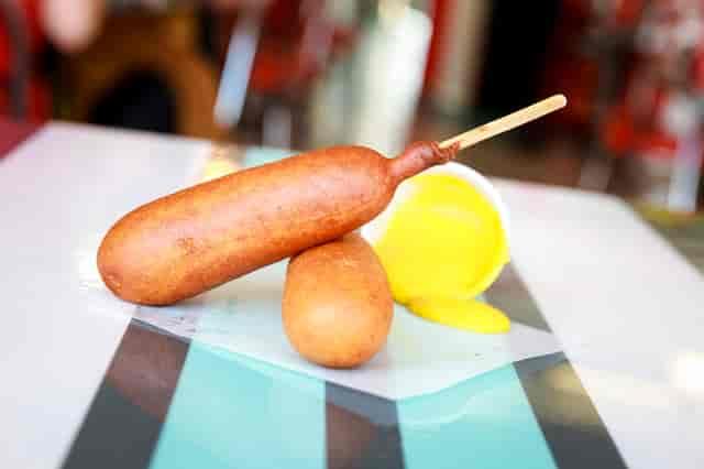 corn dog and mustard