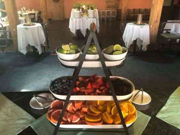 tiered food spread