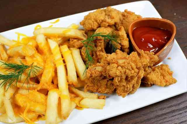 cheese fries with chicken tenders