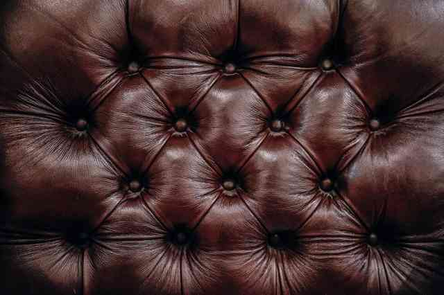 brown button couch