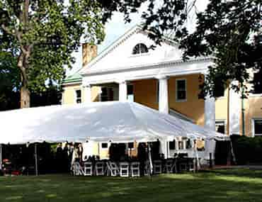 big tent set up for wedding