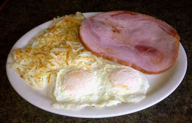 ham steak, eggs, and hashbrowns