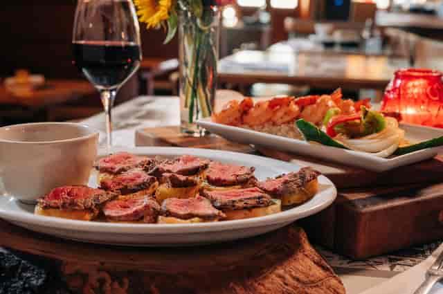 Steak tidbits and Shrimp